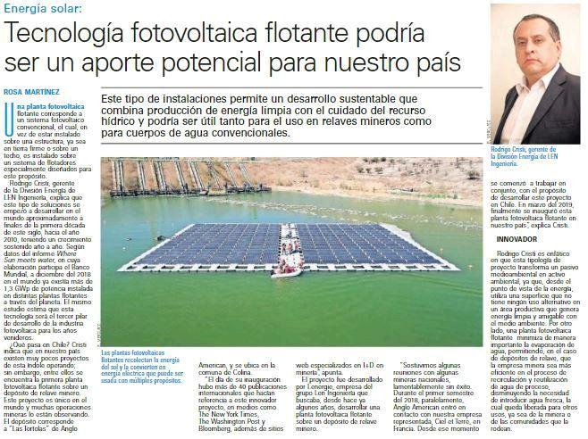 Tecnología fotovoltaica flotante podría ser un aporte potencial para nuestro país